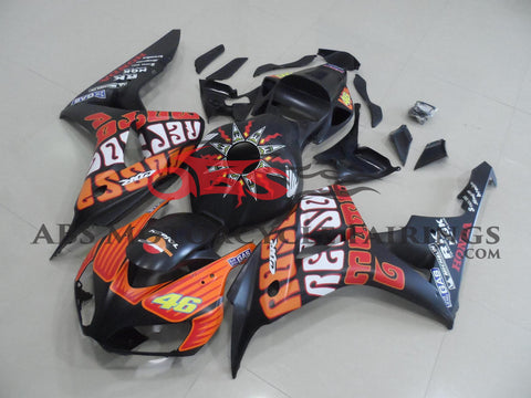Matte Black and Orange ROSSI Fairing Kit for a 2006 & 2007 Honda CBR1000RR motorcycle