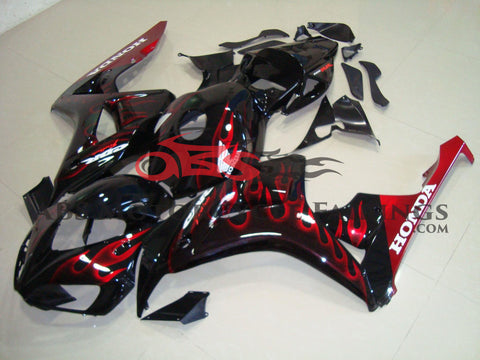 Honda CBR1000RR (2006-2007) Black & Red Flame Fairings