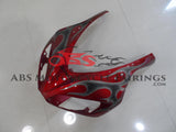 Candy Apple Red and Gray Tribal Flame Fairing Kit for a 2006 & 2007 Honda CBR1000RR motorcycle