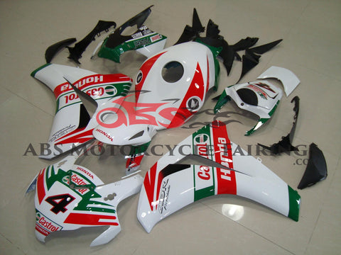 White, Red and Green Castrol #4 Fairing Kit for a 2008, 2009, 2010 & 2011 Honda CBR1000RR motorcycle