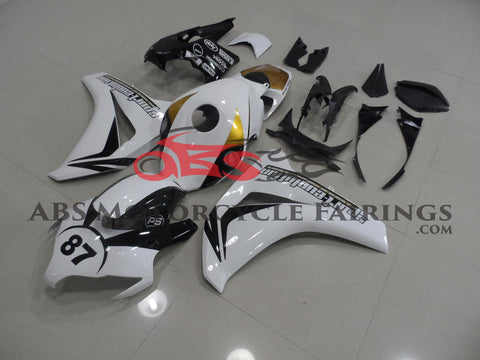 White, Black and Gold Fairing Kit for a 2008, 2009, 2010 & 2011 Honda CBR1000RR motorcycle