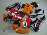 Orange, Black and Red Repsol Racing Fairing Kit for a 2005, 2006 Honda CBR600RR motorcycle