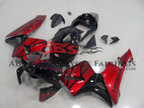 Black and Candy Apple Red Fairing Kit for a 2003, 2004 Honda CBR600RR motorcycle