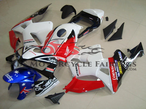 White, Red, Black and Blue Domino Racing Fairing Kit for a 2003, 2004 Honda CBR600RR motorcycle