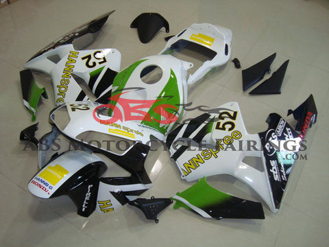 Honda CBR600RR (2003-2004) White, Black & Green HANNspree Race Fairings