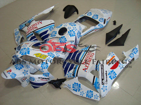 Honda CBR600RR (2003-2004) White & Blue Flower Nastro Azzurro Race Fairings