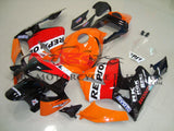 Orange, Red and Black Repsol Fairing Kit for a 2003, 2004 Honda CBR600RR motorcycle.