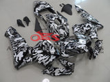 Camouflage Black, White and Grey Fairing Kit for a 2003, 2004 Honda CBR600RR motorcycle