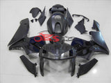 Matte Black with Gloss Black Skull Fairing Kit for a 2005, 2006 Honda CBR600RR motorcycle