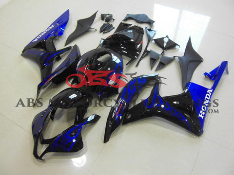 Honda CBR600RR (2007-2008) Black & Blue Flame Fairings