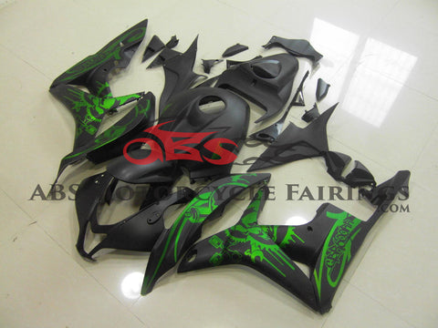 Honda CBR600RR (2007-2008) Matte Black & Green Skull Fairings
