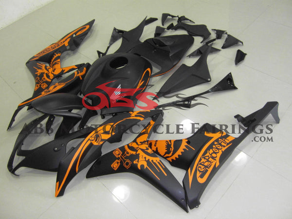 Matte Black & Orange Sticker 2007-2008 Honda CBR600RR