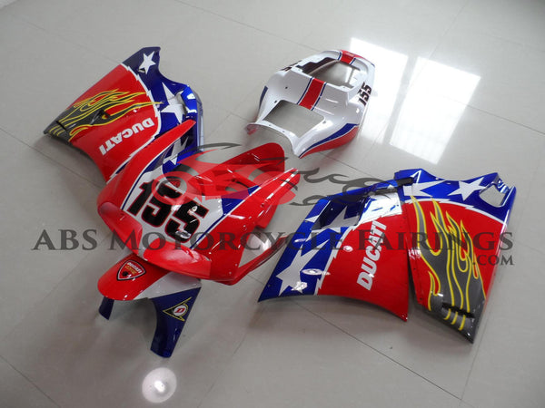 Red & Blue 155 with Stars & Grey Flame 1998-2002 DUCATI 996