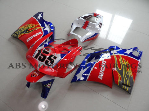 Red & Blue 155 with Stars & Grey Flame 1998-2002 DUCATI 748