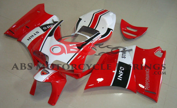 Red, White & Black INFO STRA Fairing Kit for a 1994, 1995, 1996, 1997, 1998, 1999, 2000, 2001, 2002 & 2003 Ducati 748 motorcycle