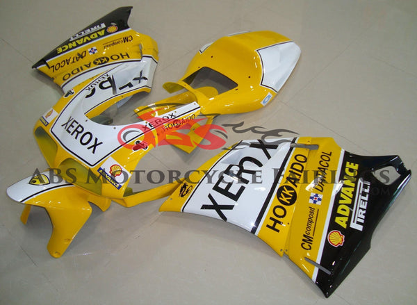 Yellow, White & Black Xerox Fairing Kit for a 1994, 1995, 1996, 1997, 1998 & 1999 Ducati 916 motorcycle