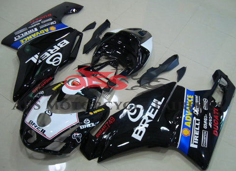 Black and White Breil Fairing Kit for a 2003 & 2004 Ducati 749 motorcycle.