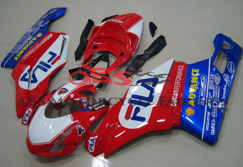 Red, White and Blue Fila Race Fairing Kit for a 2003 & 2004 Ducati 999 motorcycle