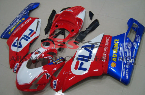 Red, White and Blue Fila Race Fairing Kit for a 2003 & 2004 Ducati 749 motorcycle