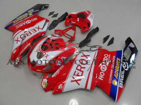 Red and White Xerox Fairing Kit for a 2003 & 2004 Ducati 999 motorcycle