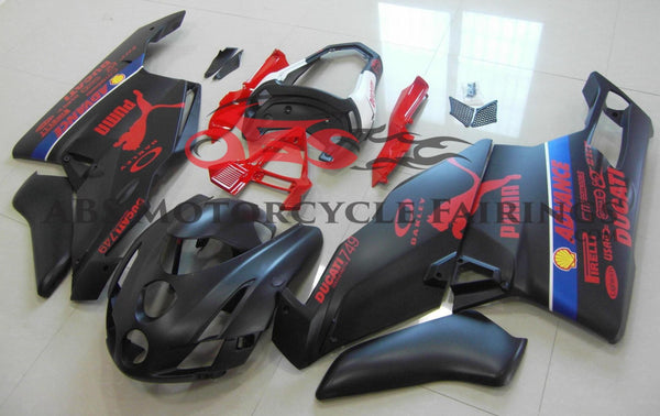 Ducati 999 (2003-2004) Matte Black & Red Puma Fairings