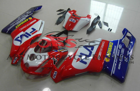 Red, White and Blue Fila Fairing Kit for a 2003 & 2004 Ducati 749 motorcycle