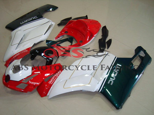 Red, White and Green Fairing Kit for a 2003 & 2004 Ducati 749 motorcycle