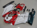 White, Red & Green Fairing Kit for a 2005 & 2006 Ducati 749 motorcycle