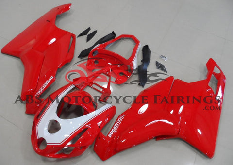 Red and White Fairing Kit for a 2003 & 2004 Ducati 999 motorcycle
