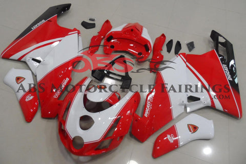 Red, White and Black Fairing Kit for a 2003 & 2004 Ducati 999 motorcycle