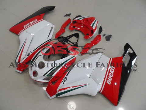 White, Red, Green and Black Fairing Kit for a 2003 & 2004 Ducati 749 motorcycle