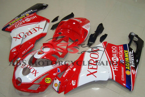 Red and White XEROX Fairing Kit for a 2003 & 2004 Ducati 749 motorcycle