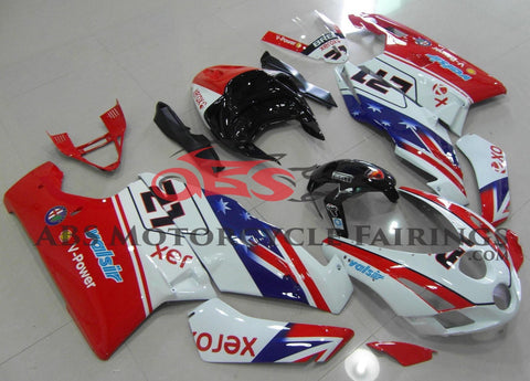 Red, White, Blue and Black #21 Fairing Kit for a 2003 & 2004 Ducati 749 motorcycle