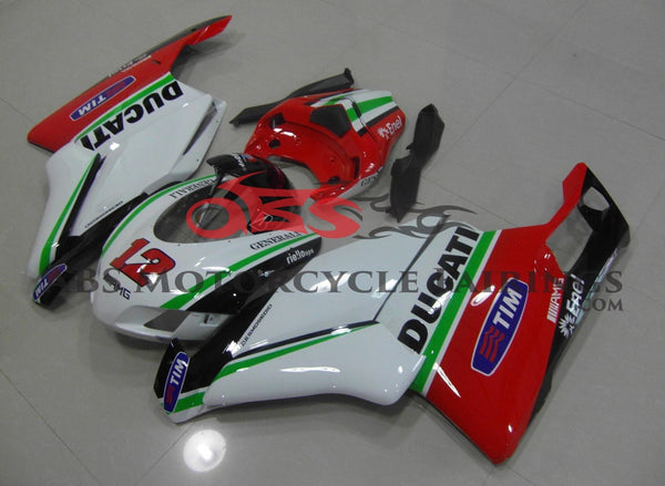 White, Red, Green and Black Generali Race Fairing Kit for a 2005 & 2006 Ducati 999 motorcycle
