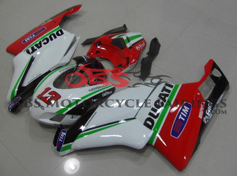 White, Red, Green and Black Race Fairing Kit for a 2005 & 2006 Ducati 749 motorcycle