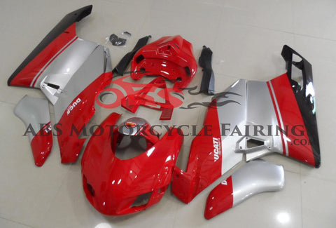 Red and Silver Race Fairing Kit for a 2005 & 2006 Ducati 999 motorcycle
