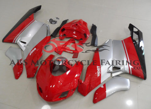 Red, Silver & Black Race Fairing Kit for a 2005 & 2006 Ducati 749 motorcycle.
