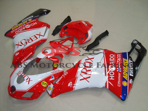 Red and White Xerox Fairing Kit for a 2005 & 2006 Ducati 749 motorcycle