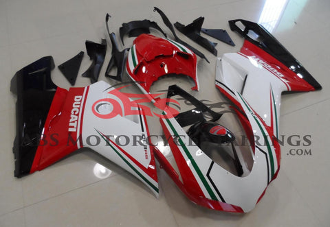 White, Red & Green Tricolor Fairing Kit for a 2007, 2008, 2009, 2010, 2011 & 2012 Ducati 1098 motorcycle