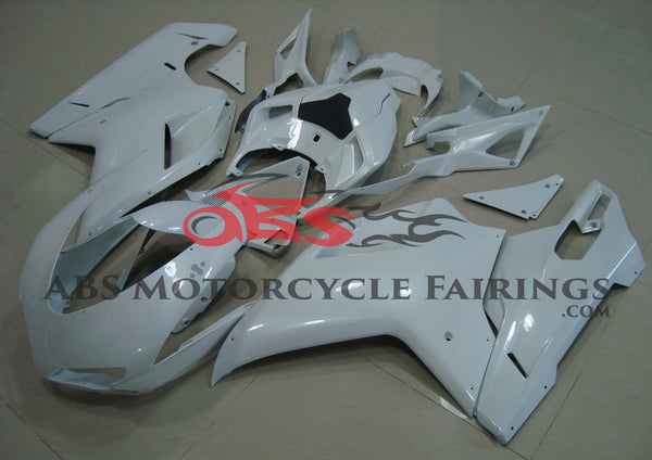 All White Fairing Kit for a 2007, 2008, 2009, 2010, 2011 & 2012 Ducati 1198 motorcycle