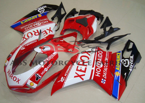 Red and White Xerox Hokkaido Fairing Kit for a 2007, 2008, 2009, 2010, 2011 & 2012 Ducati 848 motorcycle