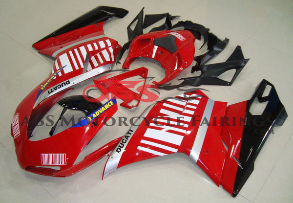 Red, Silver, Black & White Striped Fairing Kit for a 2007, 2008, 2009, 2010, 2011 & 2012 Ducati 1198 motorcycle