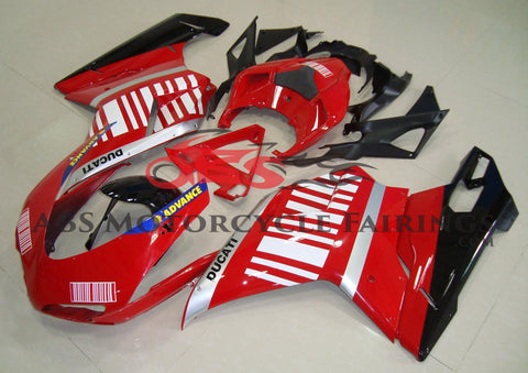 Red, Silver, Black & White Striped Fairing Kit for a 2007, 2008, 2009, 2010, 2011 & 2012 Ducati 1098 motorcycle