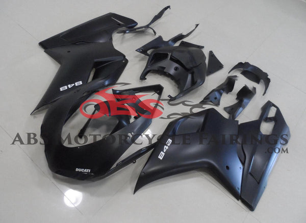 Matte Black and White Fairing Kit for a 2007, 2008, 2009, 2010, 2011 & 2012 Ducati 1098 motorcycle