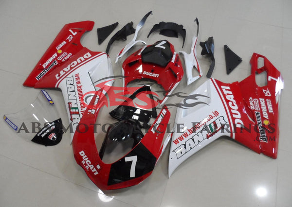 Red, White & Black #7 Fairing Kit for a 2007, 2008, 2009, 2010, 2011 & 2012 Ducati 1198 motorcycle