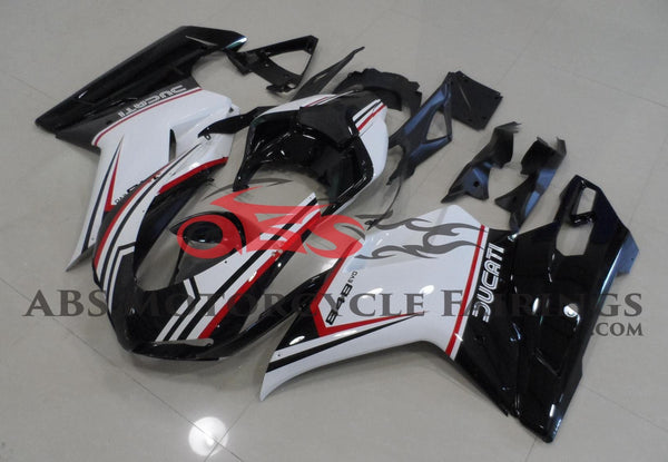 Black, White & Red Tricolor Fairing Kit for a 2007, 2008, 2009, 2010, 2011 & 2012 Ducati 1098 motorcycle