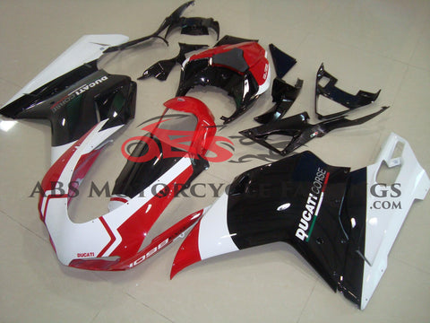 Ducati 848 (2007-2012) Black, White & Red Corse Fairings