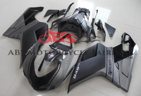 Matte Black & Matte Gray Fairing Kit for a 2007, 2008, 2009, 2010, 2011 & 2012 Ducati 1098 motorcycle
