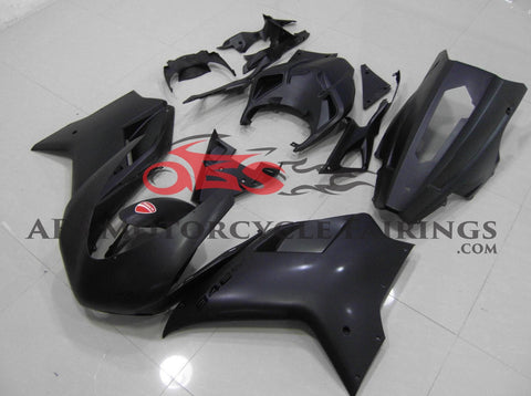 Matte Black and Black Fairing Kit for a 2007, 2008, 2009, 2010, 2011 & 2012 Ducati 1098 motorcycle