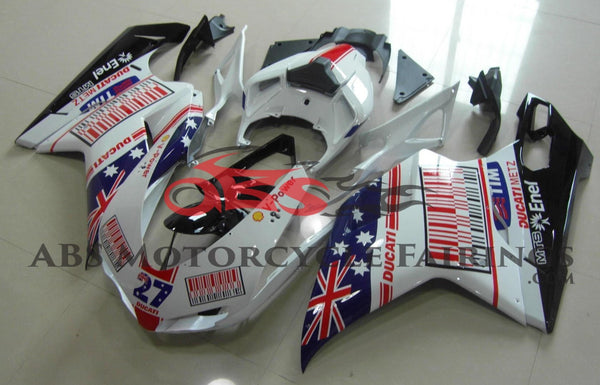 White, Blue & Red Australian Flag Fairing Kit for a 2007, 2008, 2009, 2010, 2011 & 2012 Ducati 848 motorcycle